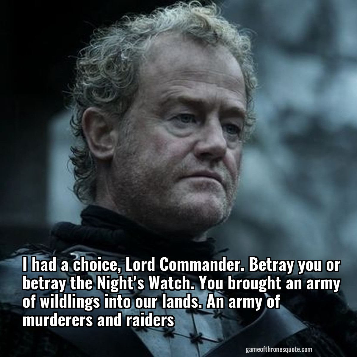 I had a choice, Lord Commander. Betray you or betray the Night's Watch. You brought an army of wildlings into our lands. An army of murderers and raiders