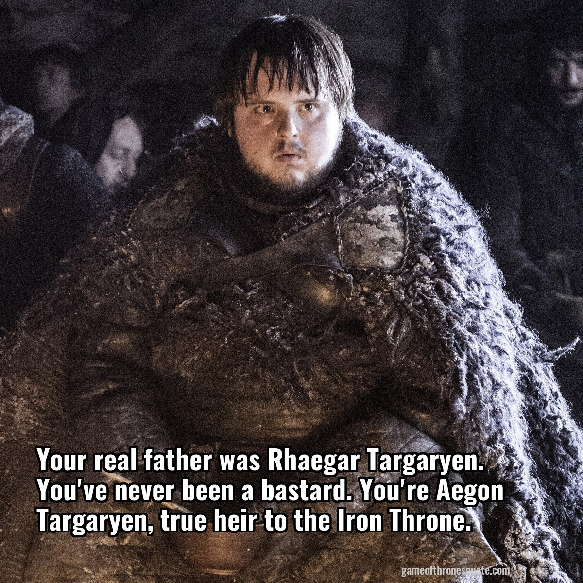 Your real father was Rhaegar Targaryen. You've never been a bastard. You're Aegon Targaryen, true heir to the Iron Throne.