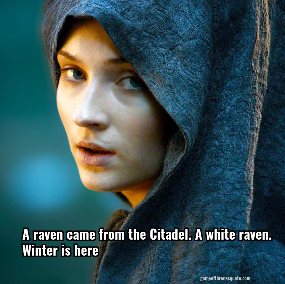 A raven came from the Citadel. A white raven. Winter is here